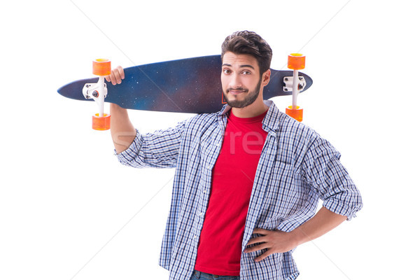 Young skateboarder with a longboard skateboard isolated on white Stock photo © Elnur