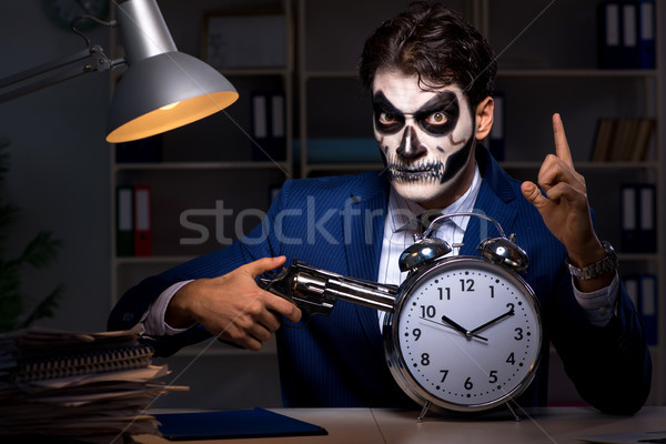 бизнесмен Scary лице маске рабочих поздно Сток-фото © Elnur