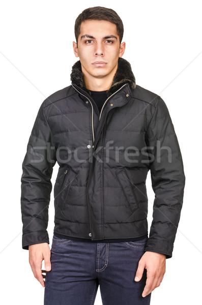 Сток-фото: мужчины · пальто · изолированный · белый · моде · дизайна