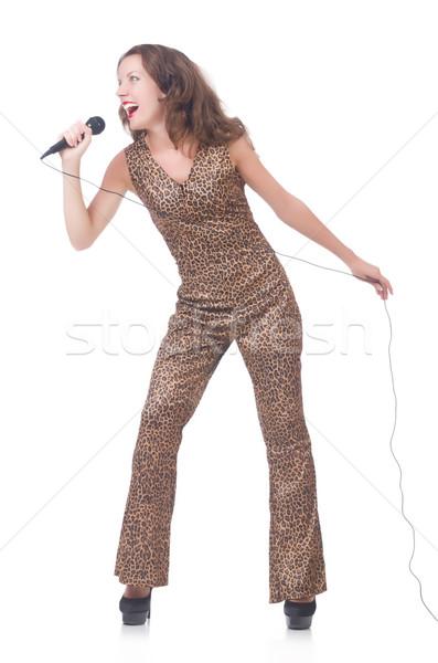 женщину певицы микрофона белый вечеринка волос Сток-фото © Elnur