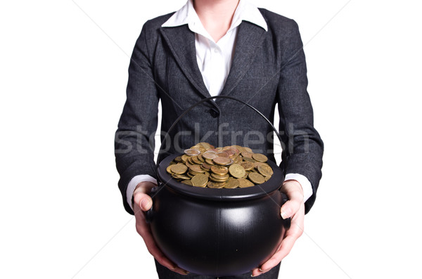 Woman holding pot of gold coins Stock photo © Elnur