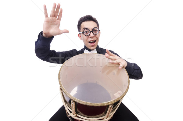 Funny man with drum on white Stock photo © Elnur