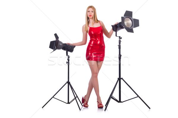 Modell stúdió fehér lány arc divat Stock fotó © Elnur