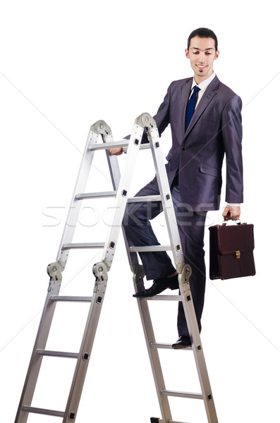 Businessman climbing career ladder on white Stock photo © Elnur
