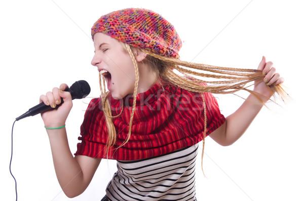Jóvenes femenino cantante blanco fiesta feliz Foto stock © Elnur