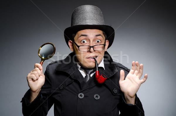 Funny Detektiv Rohr hat Auge Gesicht Stock foto © Elnur