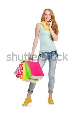 Nő vásárlás fehér boldog divat táska Stock fotó © Elnur