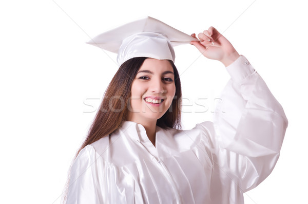 выпускник девушки диплом изолированный белый образование Сток-фото © Elnur