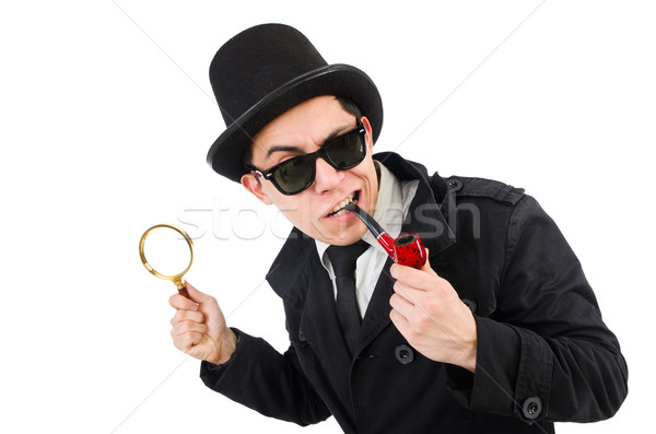 Genç dedektif boru göz yüz Stok fotoğraf © Elnur
