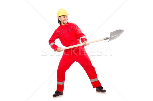 Férfi piros ásó munka kert ipar Stock fotó © Elnur
