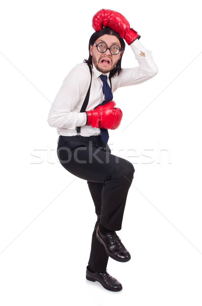 Funny young  businessman with boxing gloves isolated on white Stock photo © Elnur
