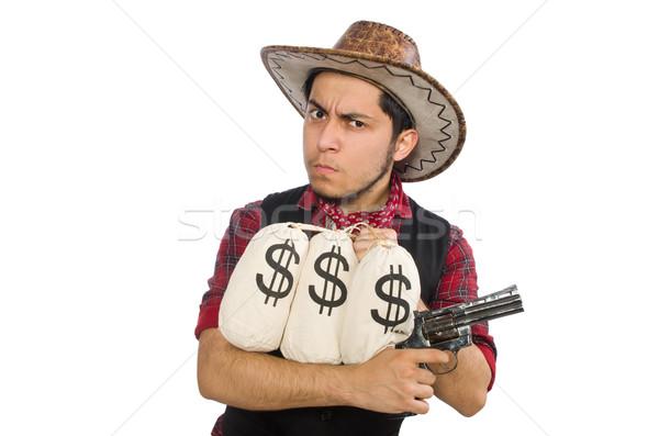 Jonge cowboy pistool geld zakken geïsoleerd Stockfoto © Elnur