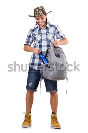 Running young traveller with backpack isolated on white Stock photo © Elnur