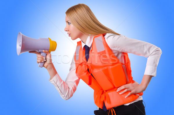 Mulher jovem colete alto-falante branco negócio mulher Foto stock © Elnur