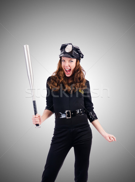 Police with bat isolated on white Stock photo © Elnur