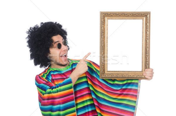 Funny mexican with photo frame isolated on white Stock photo © Elnur