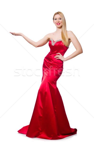 Mulher bastante vermelho vestido de noite isolado branco Foto stock © Elnur