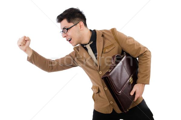 Fiatalember barna aktatáska izolált fehér háttér Stock fotó © Elnur