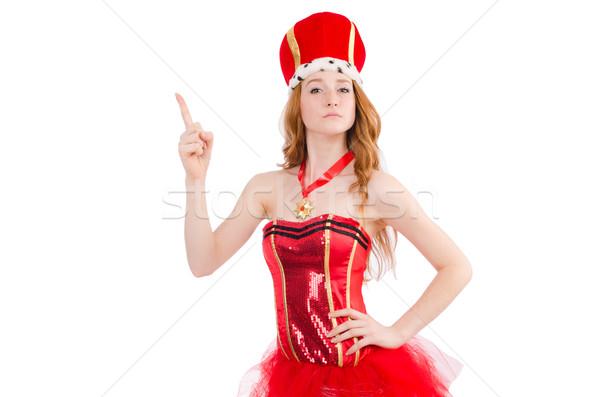 Vörös haj lány karnevál jelmez izolált fehér Stock fotó © Elnur