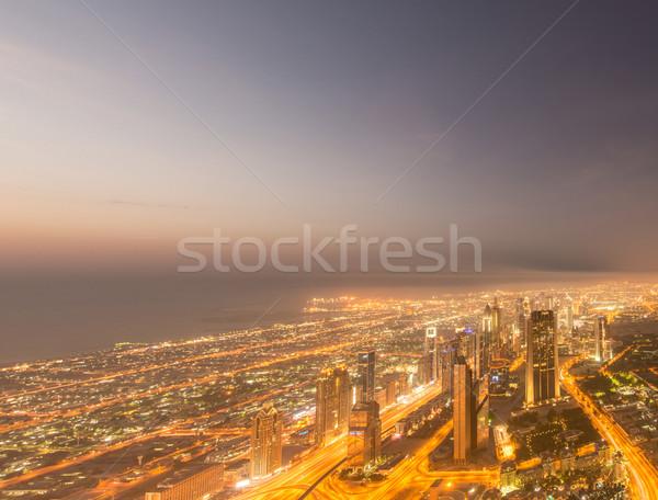 Panorama gece Dubai gün batımı iş ofis Stok fotoğraf © Elnur