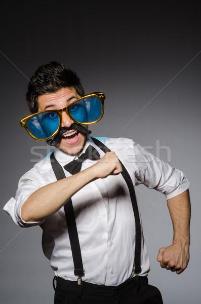 Jonge man vals snor geïsoleerd grijs mode Stockfoto © Elnur