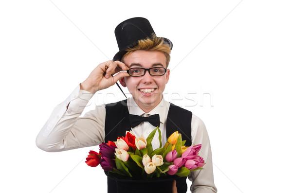 Sorridente cavalheiro flores isolado branco feliz Foto stock © Elnur