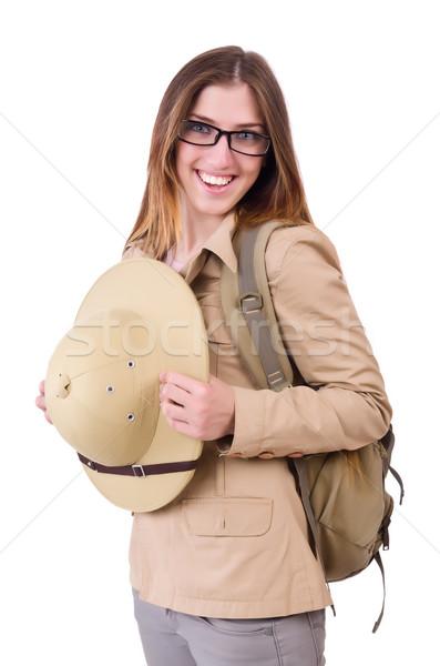 Stock photo: Woman wearing safari hat on white