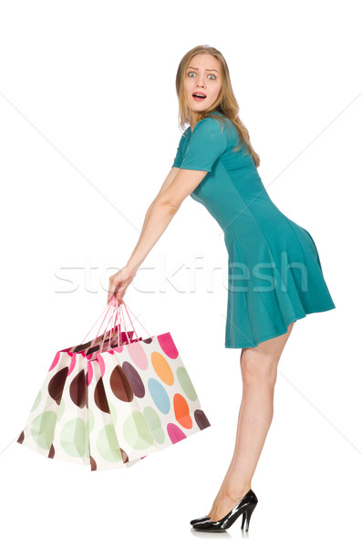 Woman in christmas shopping concept on white Stock photo © Elnur