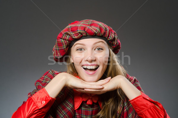 Woman wearing traditional scottish clothing Stock photo © Elnur