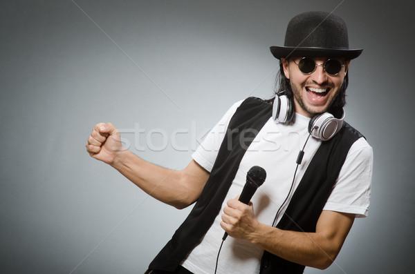 Funny człowiek karaoke klub disco fortepian Zdjęcia stock © Elnur