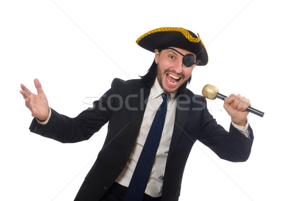 Pirate businessman holding the microphone isolated on white Stock photo © Elnur
