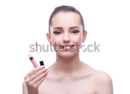 Woman brushing eyelashes isolated on white Stock photo © Elnur