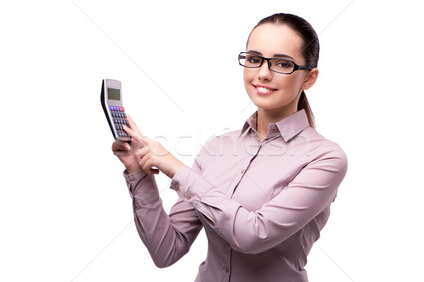 Jonge boekhouder calculator geïsoleerd witte geld Stockfoto © Elnur