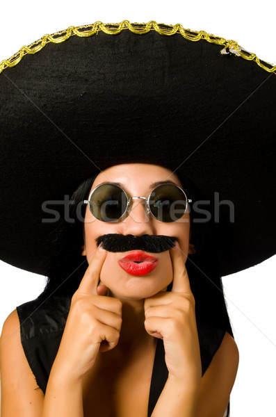 Young mexican woman wearing sombrero isolated on white Stock photo © Elnur
