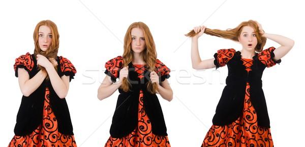 Red hair girl in orange dress isolated on white Stock photo © Elnur