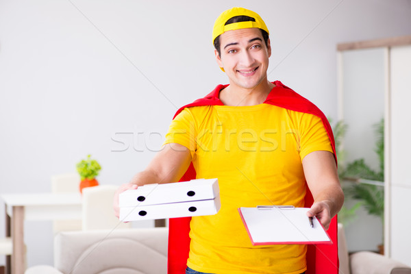 Superhero pizza delivery guy with red cover Stock photo © Elnur