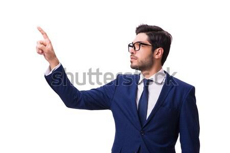 Fiatal üzletember kisajtolás virtuális gombok izolált Stock fotó © Elnur