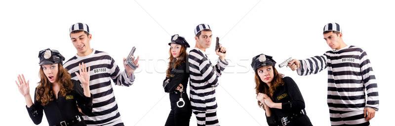 Policji więzienia więzień biały kobieta człowiek Zdjęcia stock © Elnur