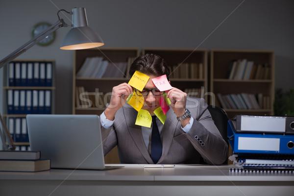 Zakenman laat uit werk notebook stress Stockfoto © Elnur