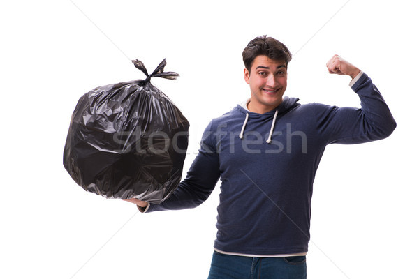 Man vuilnis zak geïsoleerd blanke man witte Stockfoto © Elnur