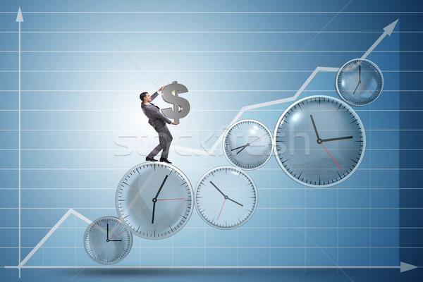 Время-деньги бизнесмен доллара заседание часы Сток-фото © Elnur