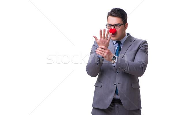 смешные клоуна бизнесмен изолированный белый бизнеса Сток-фото © Elnur