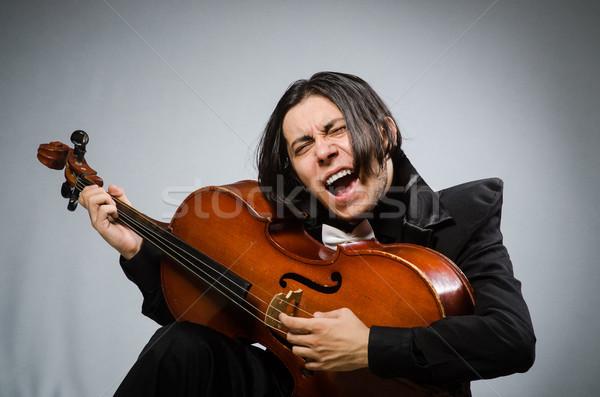 Férfi musical művészet szomorú koncert fehér Stock fotó © Elnur