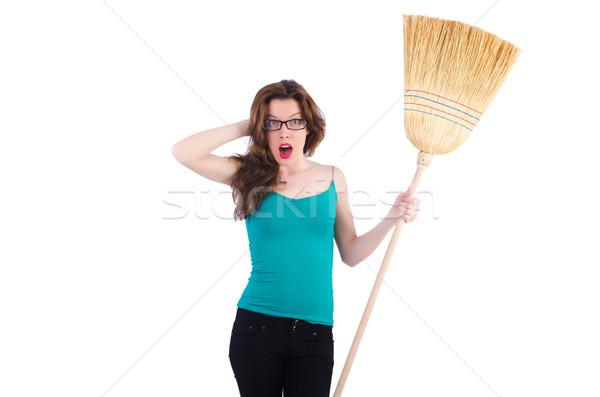 Jonge vrouw bezem witte vrouw huis werken Stockfoto © Elnur