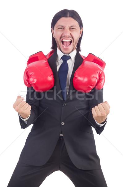 Empresario guantes de boxeo blanco negocios oficina mano Foto stock © Elnur