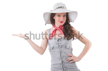 Redhead aiming  cowgirl with gun  isolated on white Stock photo © Elnur