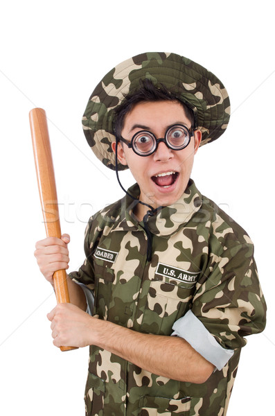 Soldier with baseball bat isolated on white Stock photo © Elnur