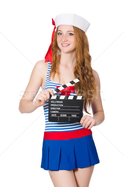 Young woman sailor with movie board Stock photo © Elnur