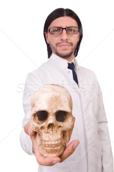 Engraçado professor esqueleto isolado branco homem Foto stock © Elnur