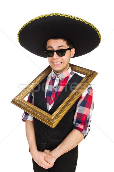Komik Meksika geniş kenarlı şapka parti adam bağbozumu Stok fotoğraf © Elnur